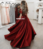Simple Satin A-line Off Shoulder Slit Long Prom Dress , FC5342