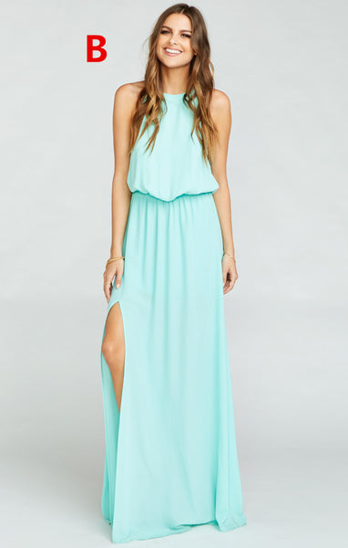 f6cc94ee447 Pretty Young Junior Mint Mismatched Different Styles Side Split Chiffon Cheap  Long Bridesmaid Dresses