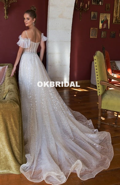 Vintage Sequin A-Line Beaded Sparkle Backless Tulle Long Wedding Dresses, KX968