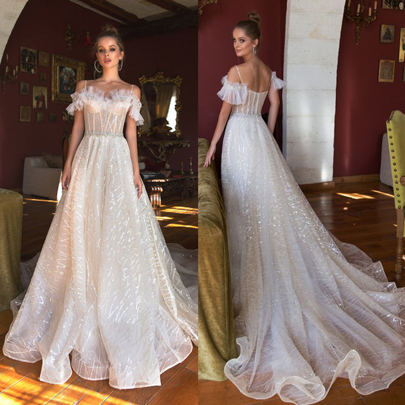 Vintage Sequin A-Line Beaded Wedding Dresses, Sparkle Backless Tulle Wedding Dresses, KX968