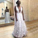 Deep V-Neck Lace Backless Sexy A-Line Sleeveless Tulle Wedding Dresses, KX1121