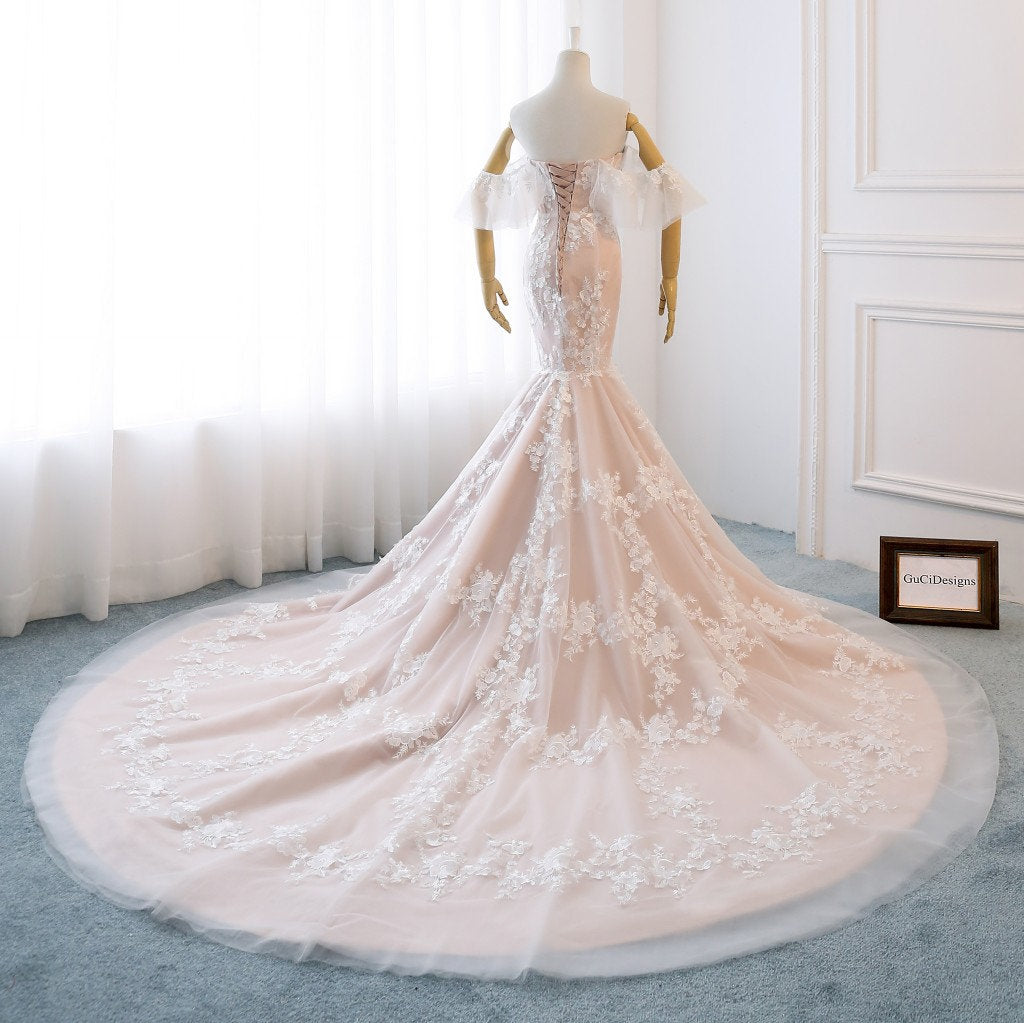 Gorgeous Off Shoulder Mermaid Backless Sweet Heart Lace Beautiful Tulle Long Wedding Dresses, FC1302