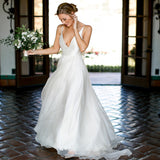 Spaghetti Straps Chiffon A-Line Backless Sexy Deep V-Neck Sleeveless Simple Wedding Dress, FC1424