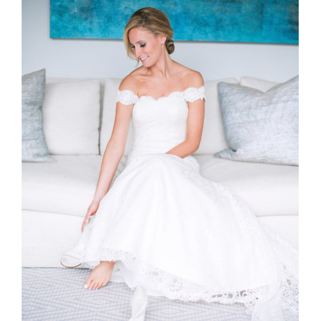 Honest Off Shoulder Lace Wedding Dress, Chaeming Mermaid Backless Wedding Dress, FC1425