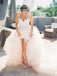 Charming Tulle Mermaid Backless Lace Sleeveless Long Wedding Dresses, FC1463