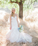 Lace Charming Mermaid Bridal Dress, Tulle Backless Cheap Long Wedding Dress, FC1473