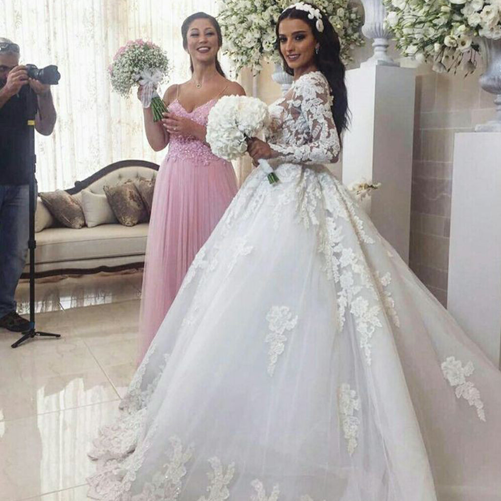 Luxury Lace White A-Line Wedding Dress, Charming Long Sleeve Tulle Wedding Dress, KX1627