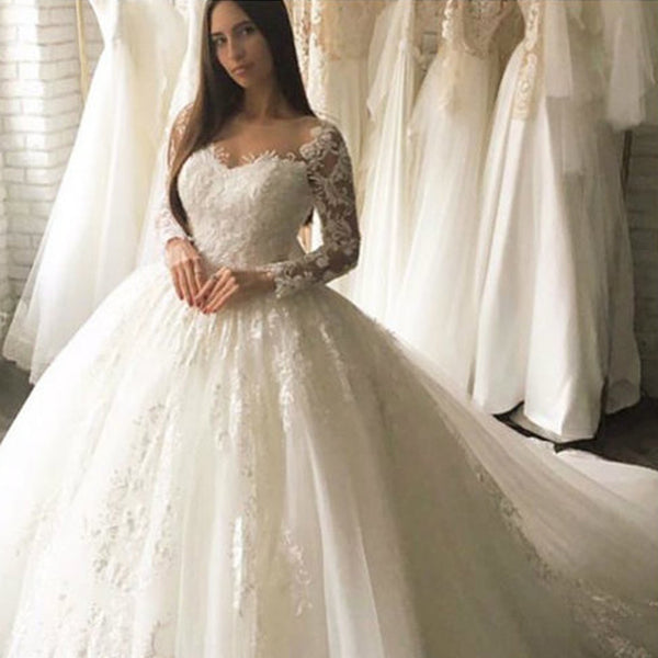 3a2f44f613fe Charming Long Sleeve A-Line Lace Elegant Applique Ball Gown Wedding Dress,  FC1633