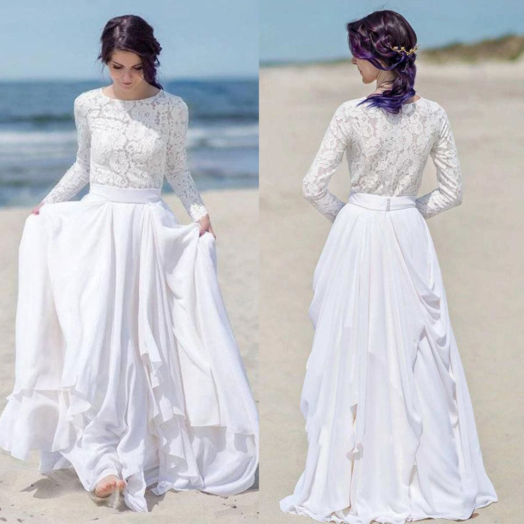 Long Sleeve A-Line Lace Top Elegant Chiffon Wedding Dress, FC1637