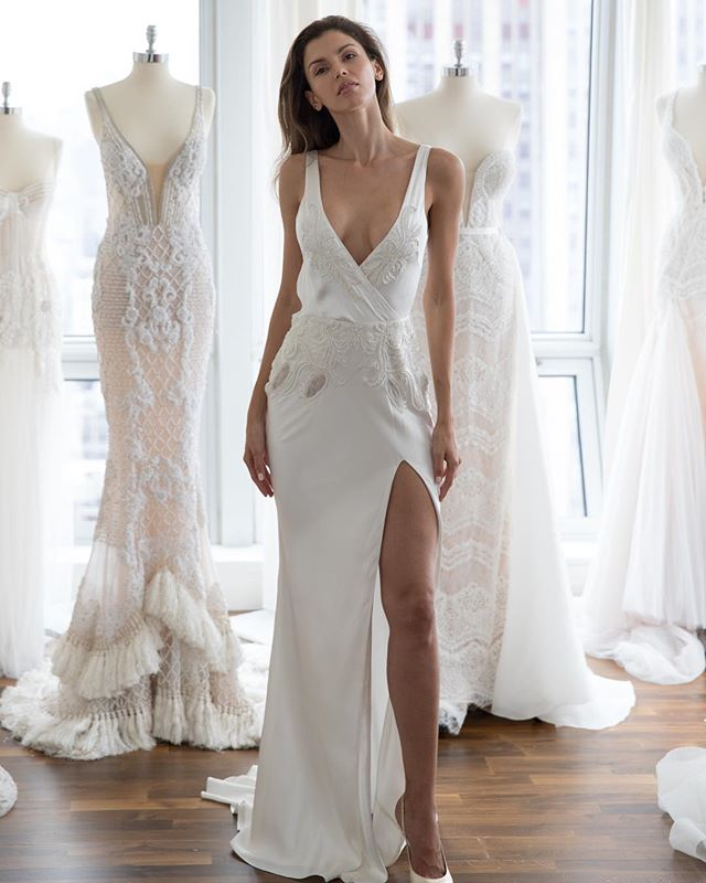 Charming Long Sleeve V-Neck Backless Applique Sexy Slit Wedding Dresses, FC1810