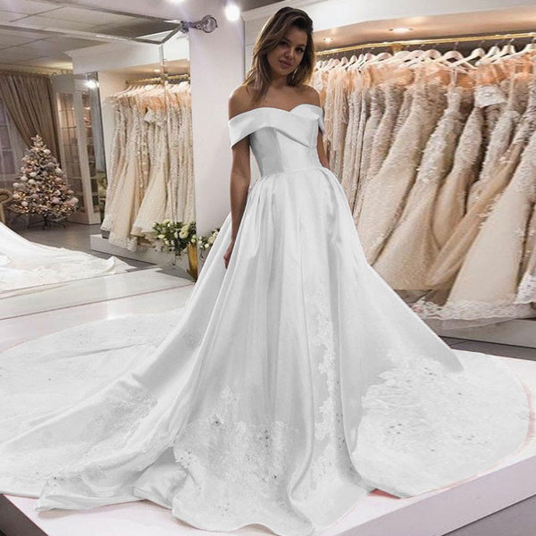 A Line Wedding Dresses.New Arrival Satin A Line Wedding Dresses Charming Applique Backless Wedding Gowns Fc566