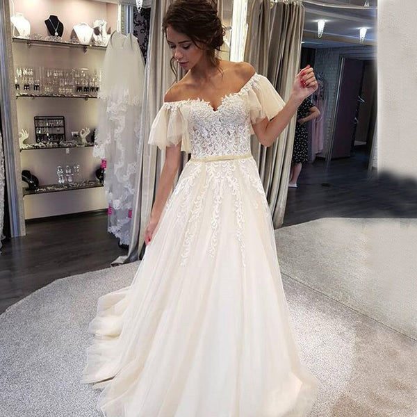 Charming Off Shoulder Lace Top Wedding Dress Tulle A Line Applique