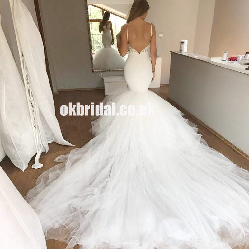 Sexy Mermaid Lace Top Backless Tulle Spaghetti Strpas Wedding Dress, LB0809