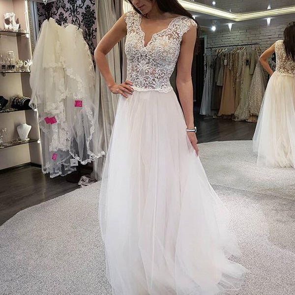 New Arrival Lace Top Tulle Wedding Dress Cheap A Line Sleeveless Wedding Dress Kx895