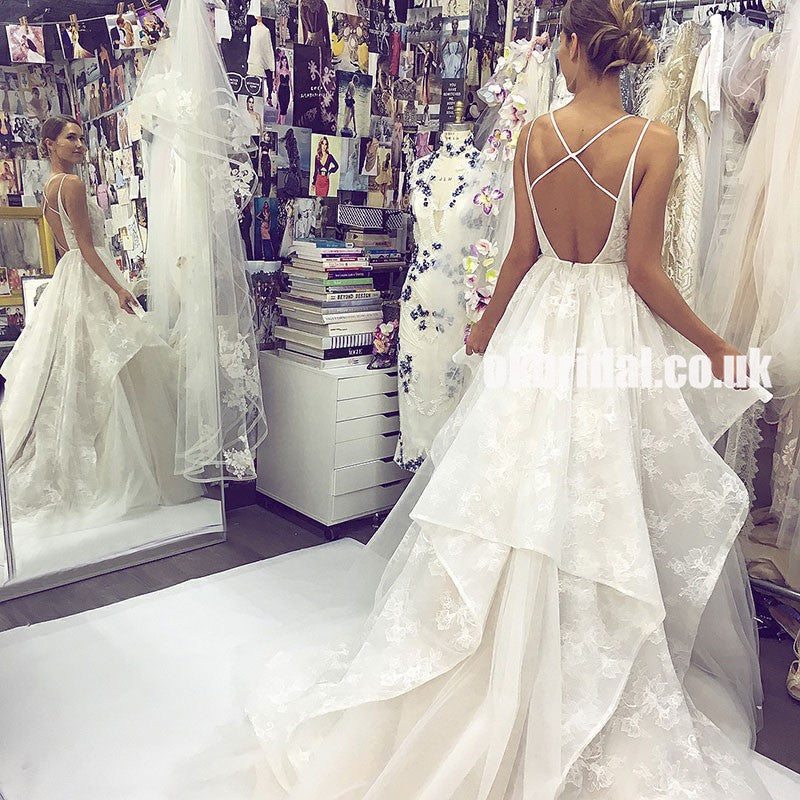 Unique Lace A-Line Wedding Dress, Backless Tulle V-Neck Charming Wedding Dress, KX9