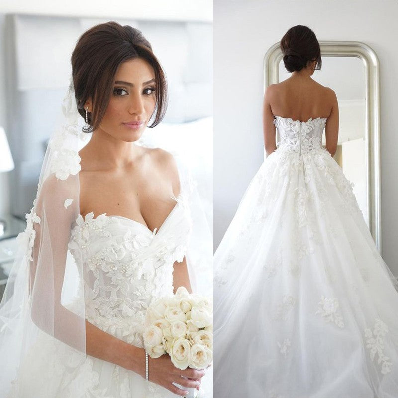 Sweet Heart A-Line Charming Wedding Dress, Tulle Applique Backless Wedding Dress,  LB0784