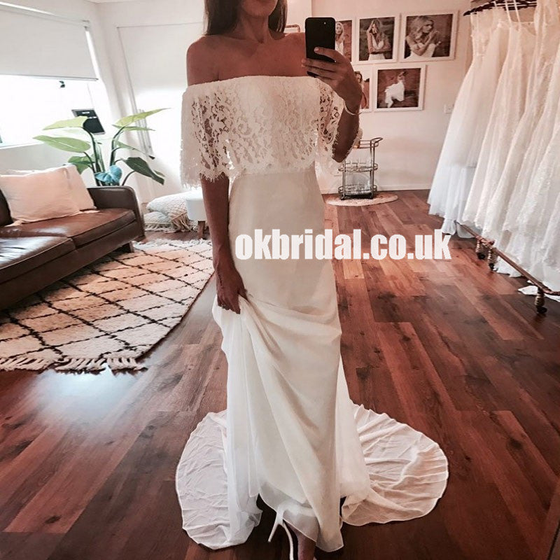 Off Shoulder Chiffon Cheap Bridal Dress, Gorgeous Lace Sheath Bridal Dress, LB0796