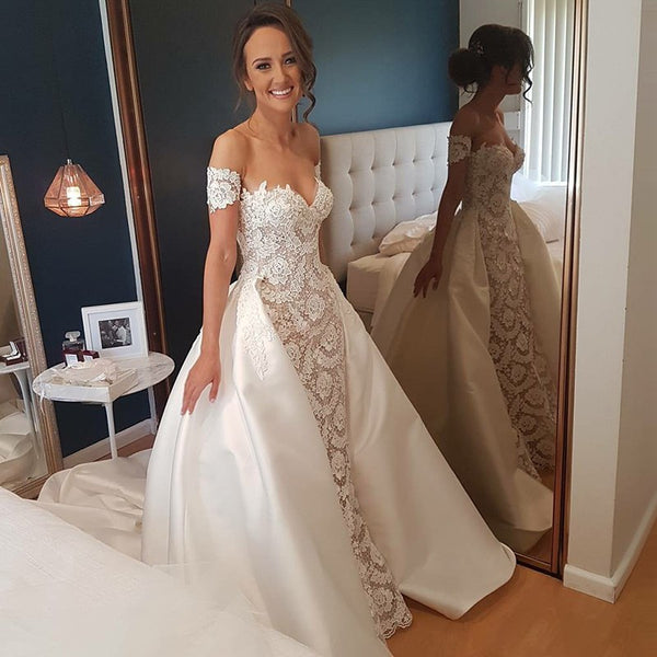 Luxury Sweet Heart Lace Wedding Dress Charming Applique Backless