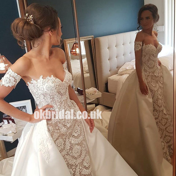 Luxury Sweet Heart Lace Wedding Dress, Charming Applique Backless Wedding Dress with Satin Skirt, LB0821