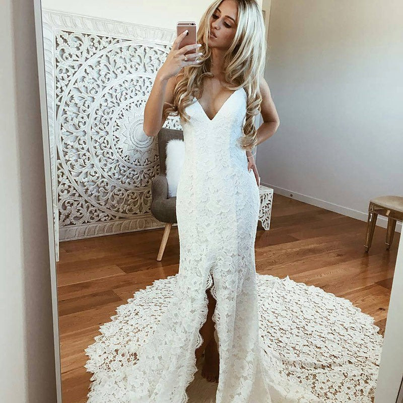 Spaghetti Straps Lace V-Neck Wedding Dress, Sexy Mermaid Slit Backless Wedding Dress, LB0868