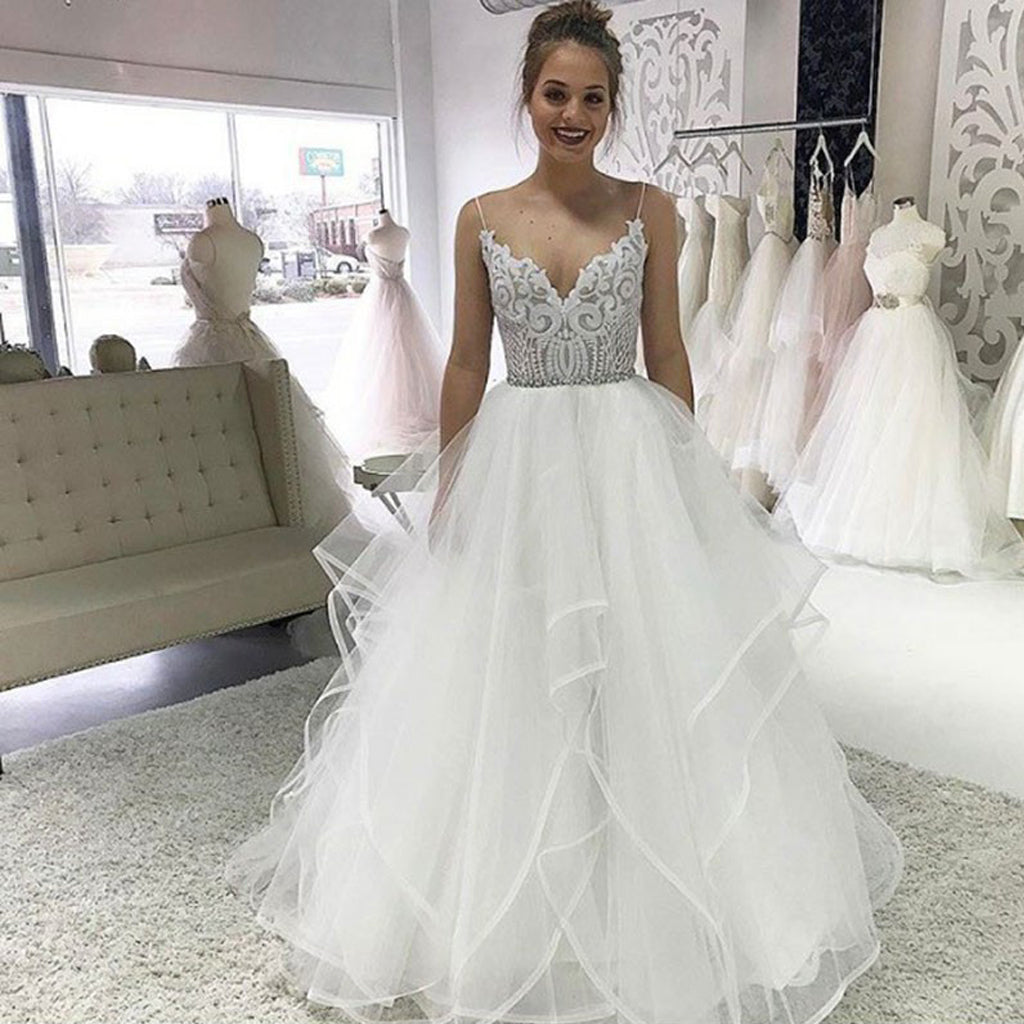 Spaghetti Strpas Lace Top Backless Wedding Dresses, White Organza A-Line Backless Wedding Gowns, LB0923