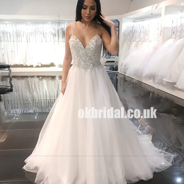 d45cd06b Spaghetti Straps Tulle Bridal Dress, Sparkle Beaded Top A-Line Sexy  Backless Wedding Dress