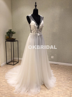 Cheap Tulle V-Neck Wedding Dresses, A-Line Open-Back Applique Wedding Dresses, KX1088