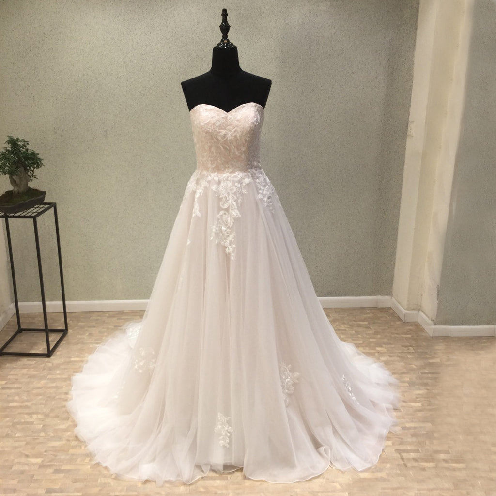 Sweet Heart Backless Applique Wedding Dresses, Tulle A-Line Lace Wedding Dresses, KX1094