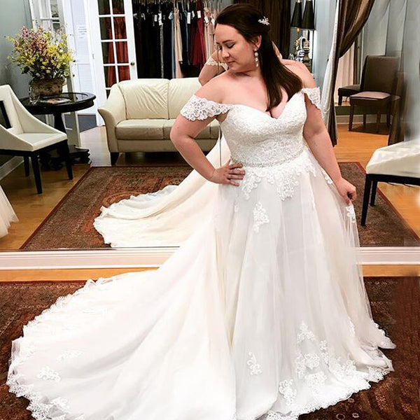 07990084ac6 Charming White Lace Off Shoulder Wedding Dress