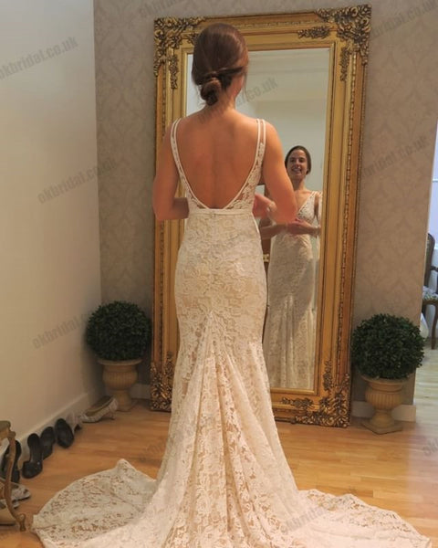 Gorgeous Lace Mermaid Wedding Dresses, V-Neck Backless Prom Dresses, KX1292