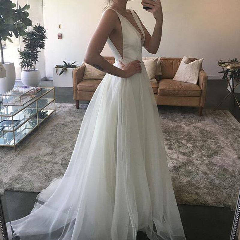 Charming tulle a line wedding dress cheap deep v neck backless charming tulle a line wedding dress cheap deep v neck backless bridal dress junglespirit Images