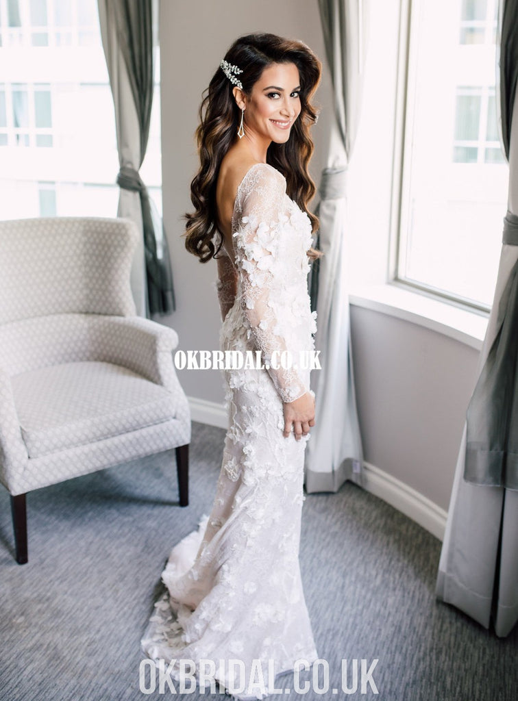 Luxury Mermaid Lace Long Sleeves Backless Sexy Wedding Dresses, FC4908