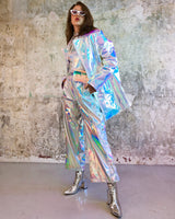 Holographic unicorn oversize long jacket