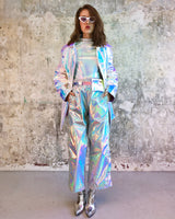 White Holographic side button pants