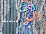 Holographic see through rainbow sleeveless biker