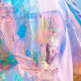 Holographic see through unicorn long coat