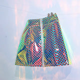 Holographic checkered skirt !