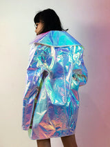 Holographic unicorn oversize long jacket !