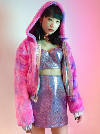 Rainbow fluffy cotton candy double-sided jacket