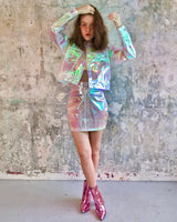 Pastel holographic coat and skirt set