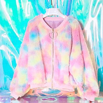 Rainbow fluffy pastel cotton candy jacket