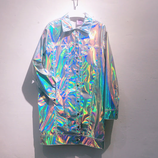 White Holographic long coat