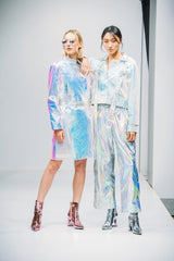2 ways white unicorn sequin patchwork coat