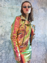 Metallic Hologram Moto Jacket