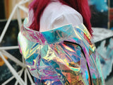 Holographic see through rainbow biker