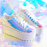 Hologram platform shoes
