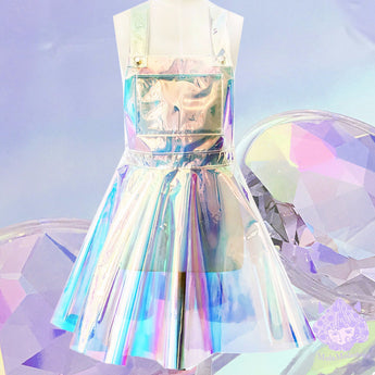 Holographic galaxy cyber rainbow Flare Skater Dress