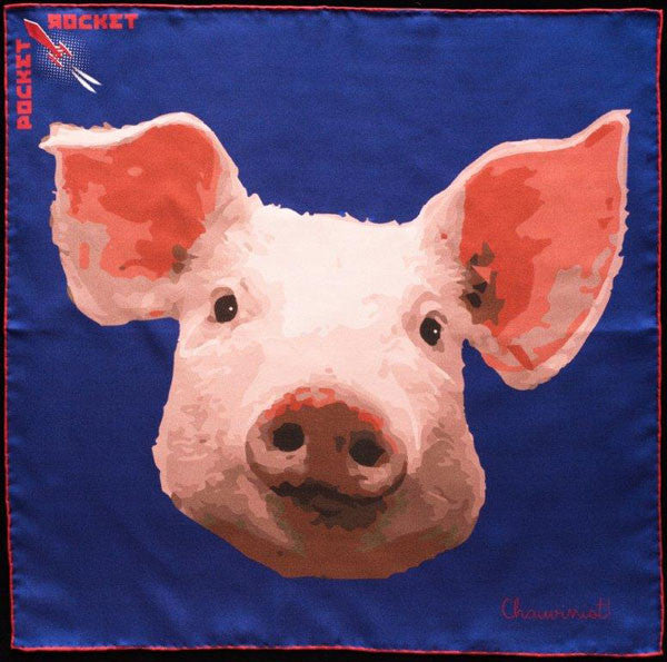 Silk Pig Pocket Square