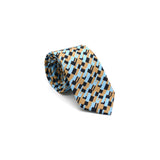 Freedom Tie silk tie designed by Niki Fulton. A graphical bronze and blue print.