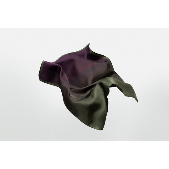 Rock silk pocket square / neckerchief designed by Niki Fulton. Forest green and amethyst silk